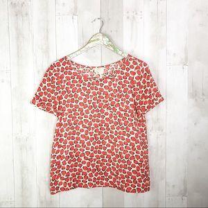 [Kate Spade] Coral Leopard Silk Pocket Blouse